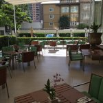 Breakfast is buffet style, great patio w fans to keep you cool even when it's hot. Great gym & n