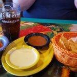 Chips, house salsa, habanero salsa, cheese sauce (last 2 extra)