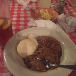 the peach cobbler with ice cream. wasn't bad though it looked more like oatmeal