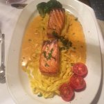 Salmon with Lobster sauce on bed of pasta
