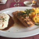 Salmon with Bourbon, mashed potatoes