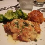 Stuffed tilapia with broccoli and sweet potato mash, all good.