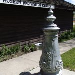 Historic cast iron fountain in front of Sellors Barton Museum