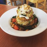 Crab cake and fried green tomato salad.