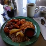 This is Shrimp Ranchero with Rice and Beans for Lunch. It is very good. Tasty!!!