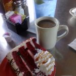 Dessert - Red (Rojo) Velvet Cake & Cafe' with a side of Limon Agua.