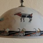 Beautiful pottery shade hanging lamp