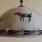 Beautiful pottery shade hanging lamp