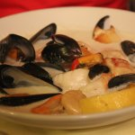 Fresh combination crab, musscles,salmon, scallops in cream sauce