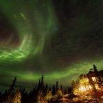 The main lodge and Aurora Borealis.