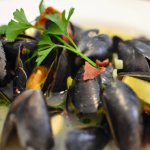 Locally sourced mussels with bacon