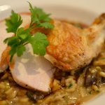 Chicken with mushroom risotto