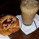My cherry pastry & Ice coffee