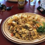 Fantastic chicken apple sausage scramble with hash browns  this time, not coffee cake.