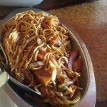 Lamb dosa, Hakka noodle bowl, mango chutney, gosht curry