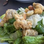 Caesar salad with fried oysters