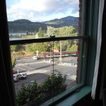 A view of the Columbia River and train tracks from our upper floor room