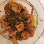 Fried soft shell crab topped with shrimp Etouffe