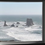 A view of sea stacks from our room.