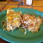 *Veggie Omelette* Three eggs with spinach, mushrooms, tomatoes, onion and bellpeppers topped che