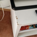 Scabby second bedside table that was being used as a TV stand.