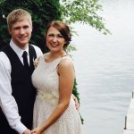 Newly married couple at High Shores Supper Club in gardens overlooking Lake Wissota