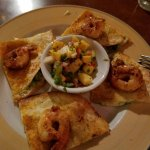 Oven baked shrimp & goat cheese quesadilla.