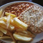 PIe with chips and beans