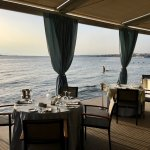 Early evening looking out to the beach from Mythos of the Sea