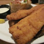 Low Country Fried Flounder with loaded baked potato