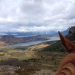Horseback riding overlooking a lake, out to the sound and the Andes