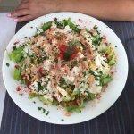 Салат  -6 евро, буквально по размеру на три порции