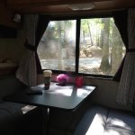 We love the tall trees which cannot damage the roof of the RV . We arrived on Saturday and love