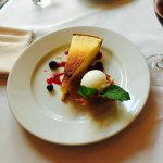 Lemon Tart with Berry Sauce and Lemony Ice in Edible Shell