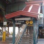closest subway stop, 5 minute walk, take the N train to Manhattan
