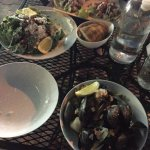 taco / salad / mussels and clams