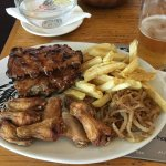 Ribs and wings. The fries were not the best at this location and the wings were fried a bit too