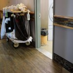 The view from our door - the noisy linen room and yet another housekeeping trolley.