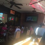 Patio with big screen