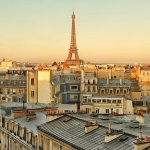 Sunrise in Paris. View from private terrace.