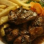the lamb steaks with chips