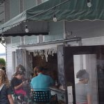 Outdoor Bar area - dollar bills hanging everywhere....cool!