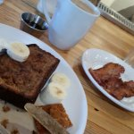 Banana bread French toast with a side of bacon