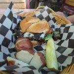 Mushroom swiss buffalo wine burger - mushrooms were thick and plentiful with lettuce and tomato