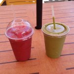 fruit smoothie (too sweet) and raw smoothie (just right!).