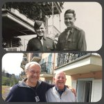 The balcony, my father-in-law Jack Murphy on right- 1945- Mr Hoffman,Left, and my husband '16