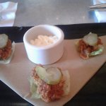 American Eats inside the hotel had an amazing hot chicken spiced oyster slider. I opted for no b