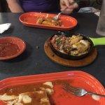 Seafood plata w/ shrimp, lobster, scallops and tilapia. Mango pico on the side and mozzarella!
