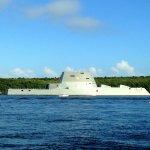 USS ZUMWALT as seen from the Maritime Museum waterfront in Bath, Maine.