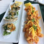 Oysters Rockefeller and Sweet Heat Calamari apps